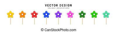 multicolored, stick., festivo, five-petal, decoration., flores, desenho, flowers., isolado, doces, elementos decorativos, experiência., jogo, lustroso, branca, brilhar, lollipops