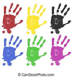 multicoloured, impressões, mão