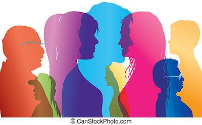 multidão., diálogo, silueta, colorido, exposição, pessoas, pessoas., diferente, falando, vetorial, ages., entre, múltiplo, comparação, profiles.