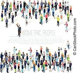 multidão., pessoas, isometric