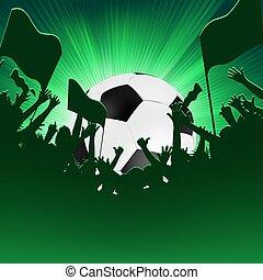 multidão., ventiladores, futebol, eps, 8