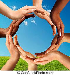 multiracial, fazer, círculo, junto, mãos
