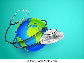 mundo, ao redor, mostrando, médico, fundo, terra, saúde, dia, estetoscópio