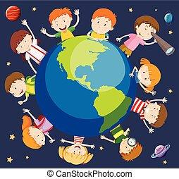 mundo, conceito, crianças, ao redor