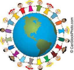 mundo, crianças, ao redor