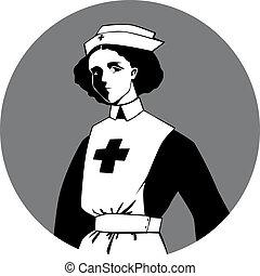mundo, enfermeira, guerra, clipart, um