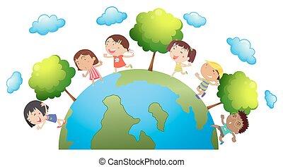 mundo, feliz, crianças, ao redor