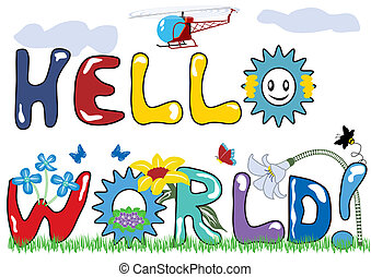 mundo, letras, olá