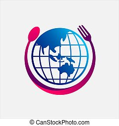 mundo, logotipo, alimento