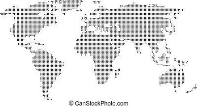 mundo, pontilhado, mapa
