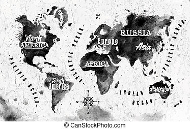 mundo, tinta, mapa