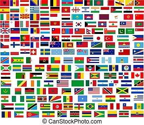 mundo, tudo, bandeiras, países