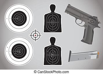 munições, arma, -, alvos, ilustração