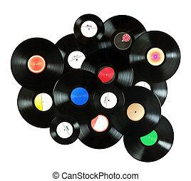 myself, feito, registros, coloridos, vindima, abstratos, etiquetas, tudo, isolado, fundo, música, vinil, fundo, branca, sobre, projetado