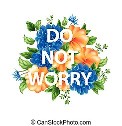 não, lettering, flores, preocupação, ilustração