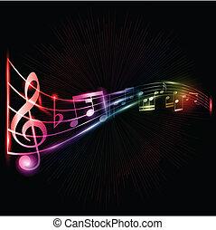 néon, notas, música, fundo