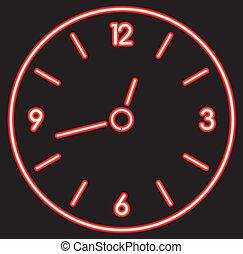 néon, relógio