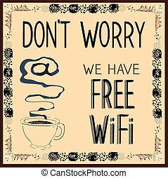nós, illustration., faça, livre, poster:, wi-fi., vetorial, ter, preocupação