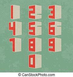 números, 3d, retro