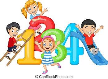 números, feliz, pequeno, caricatura, crianças