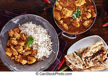 naan, basmati, prato, balti, indianas, arroz, caril, refeição