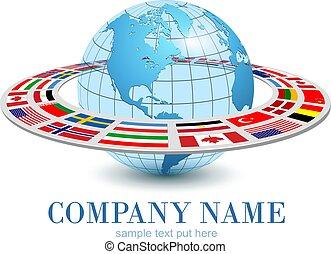 nacional, terra, 3d, planeta, dinâmico, órbita, globo, logotipo, bandeiras