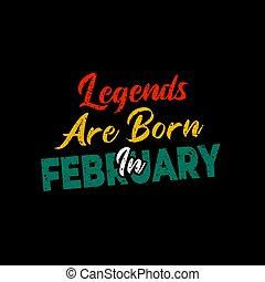 nascido, texto, february., amarela, lendas, verde, tipografia, vermelho