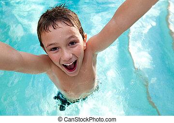 natação, alegre, piscina, criança