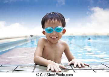natação, criança, piscina, feliz