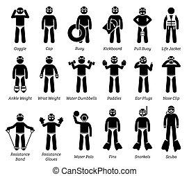 natação, figura, pictogram., equipamento, vara, engrenagens, ícones