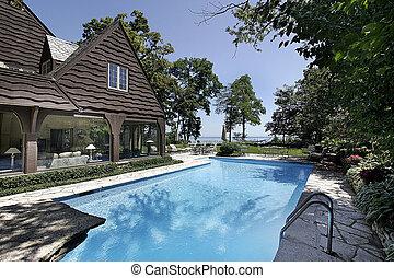 natação, lago, piscina, vista