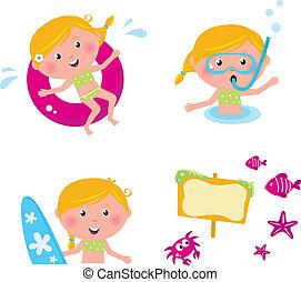 natação, verão, isolado, cobrança, vetorial, crianças, ícones, branca