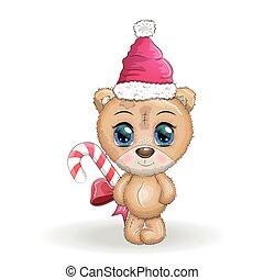 natal, ano, grande, novo, cartão, olhos, cute, caricatura, saudação, urso, chapéu