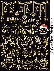 natal, desenho, ouro, elementos, vetorial