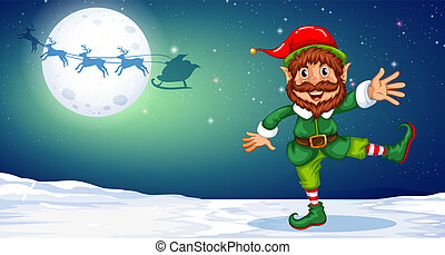 natal, duende, neve, dançar