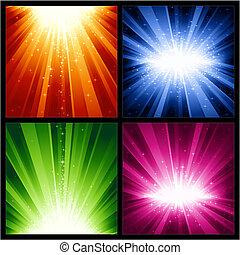 natal, explosões, festivo, estrelas, luz, anos, novo