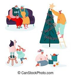 natal, família, feliz, lareira, jogo, pais, year., pessoas, caráteres, celebrando, presentes xmas, estação, decorando, carols, cante, scene., crianças, ilustração, novo, vetorial, inverno, embalagem, árvore