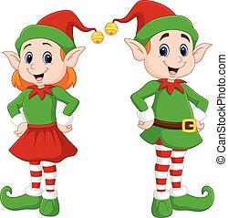 natal feliz, caricatura, par, duende