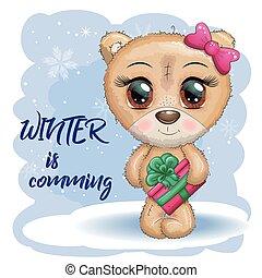 natal, inscrição, inverno, presente grande, patas, olhos, cute, caricatura, urso, fundo