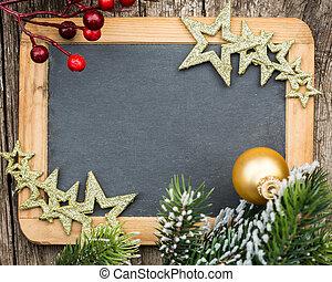 natal, inverno, espaço, madeira, vindima, concept., em branco, árvore, formulou, feriados, texto, decorations., ramo, quadro-negro, cópia, seu