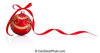 natal, isolado, arco, decoração, fita, fundo, branca, bauble, vermelho