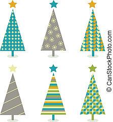 natal, jogo, retro, árvores, ícone
