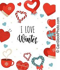 natal, lettering, ícones, white., isolado, inverno, love., adesivo, ícone, cartão, apartamento, desenho, amor, conceito, vetorial