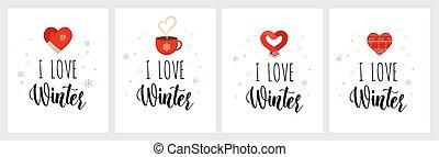 natal, lettering, cartões, ícones, white., isolado, inverno, love., ícone, apartamento, amor, desenho, conceito, vetorial, adesivos