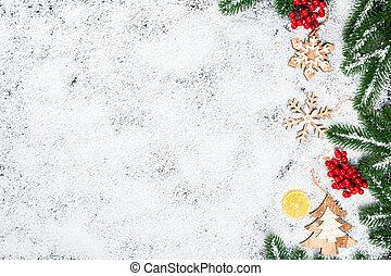 natal, ramos, inverno, limão, quadro, doce, árvore, decor., brinquedos, neve, fundo, ano, novo, branca, feriado, snowflakes