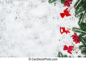 natal, ramos, inverno, quadro, doce, árvore, decor., brinquedos, neve, fundo, ano, novo, branca, feriado, snowflakes