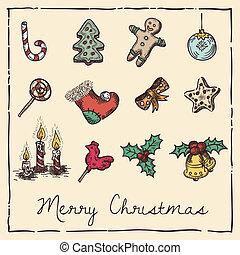 natal, retro, cartão, convite