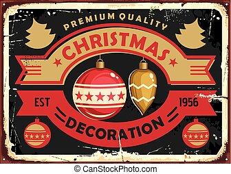 natal, sinal, desenho, decoração, retro, loja, lata