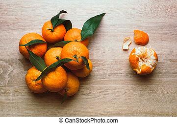 natal, tabela., topo, configuração, vista, fundo, frame., tangerines, apartamento, feriado, inverno