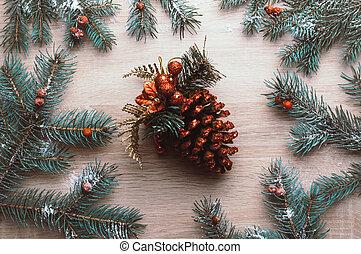 natal, topo, bagas, configuração, abeto, ramos, cone, fundo, snow., frame., rowan, vista, apartamento, feriado, inverno